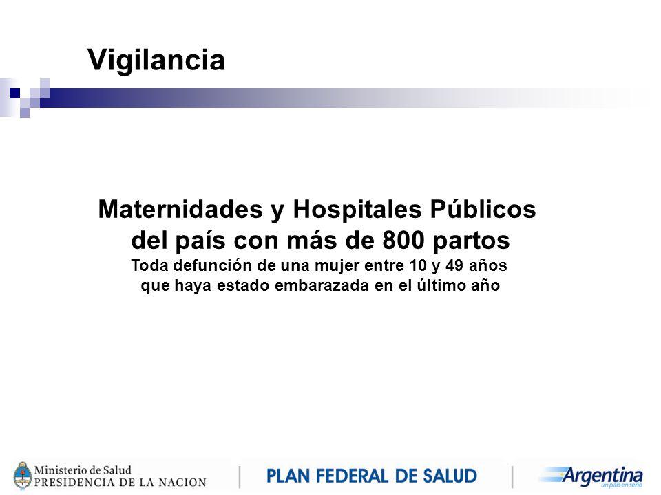 Vigilancia Maternidades y Hospitales Públicos del país con más de 800 partos. Toda defunción de una mujer entre 10 y 49 años.