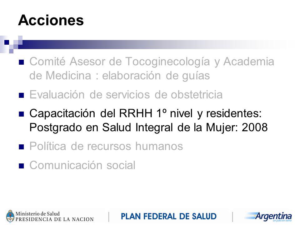 Acciones Comité Asesor de Tocoginecología y Academia de Medicina : elaboración de guías. Evaluación de servicios de obstetricia.