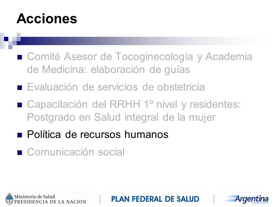 Acciones Comité Asesor de Tocoginecología y Academia de Medicina: elaboración de guías. Evaluación de servicios de obstetricia.