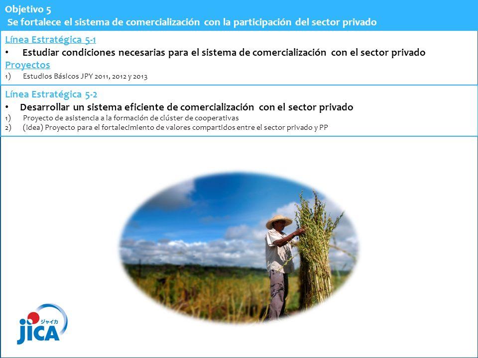 Objetivo 5 Se fortalece el sistema de comercialización con la participación del sector privado. Línea Estratégica 5-1.