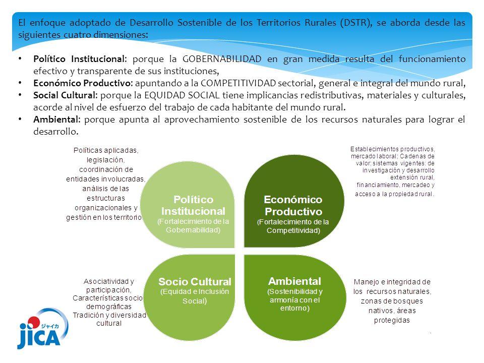 El enfoque adoptado de Desarrollo Sostenible de los Territorios Rurales (DSTR), se aborda desde las siguientes cuatro dimensiones: