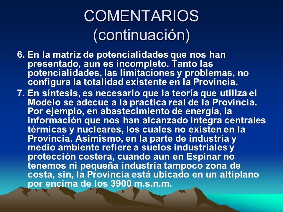 COMENTARIOS (continuación)