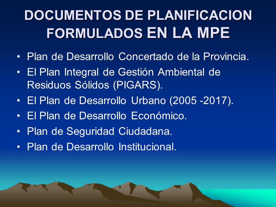 DOCUMENTOS DE PLANIFICACION FORMULADOS EN LA MPE