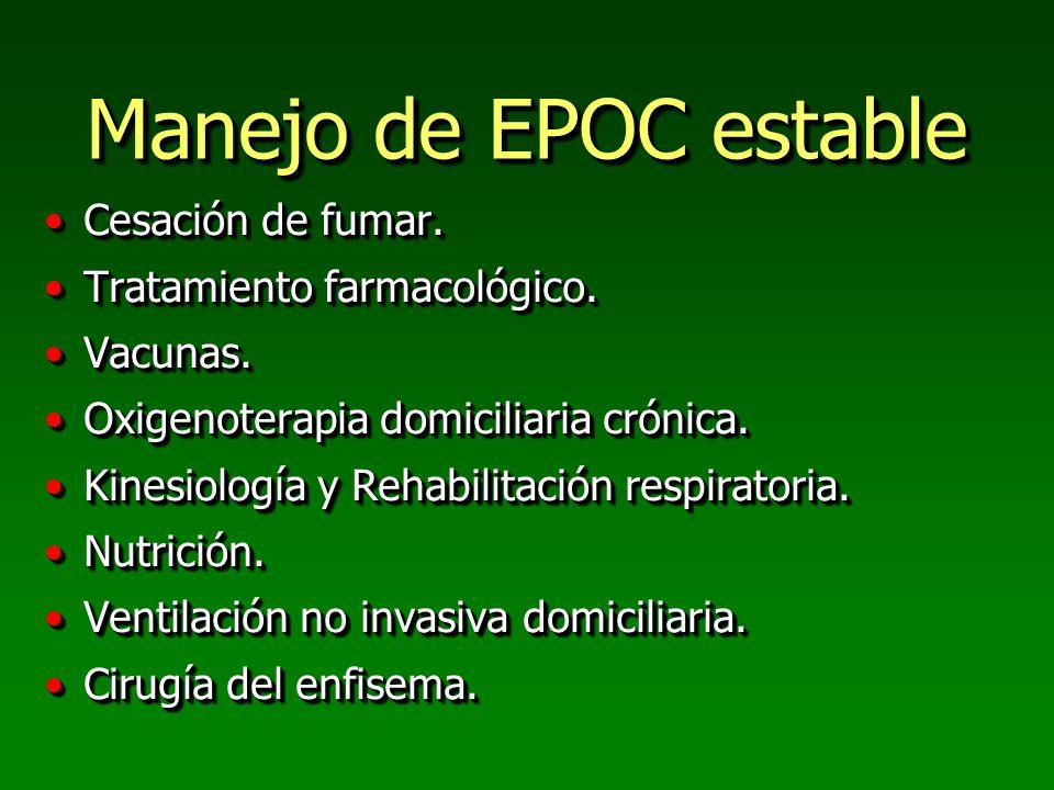 Manejo de EPOC estable Cesación de fumar. Tratamiento farmacológico.