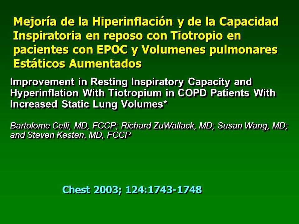 Mejoría de la Hiperinflación y de la Capacidad Inspiratoria en reposo con Tiotropio en pacientes con EPOC y Volumenes pulmonares Estáticos Aumentados