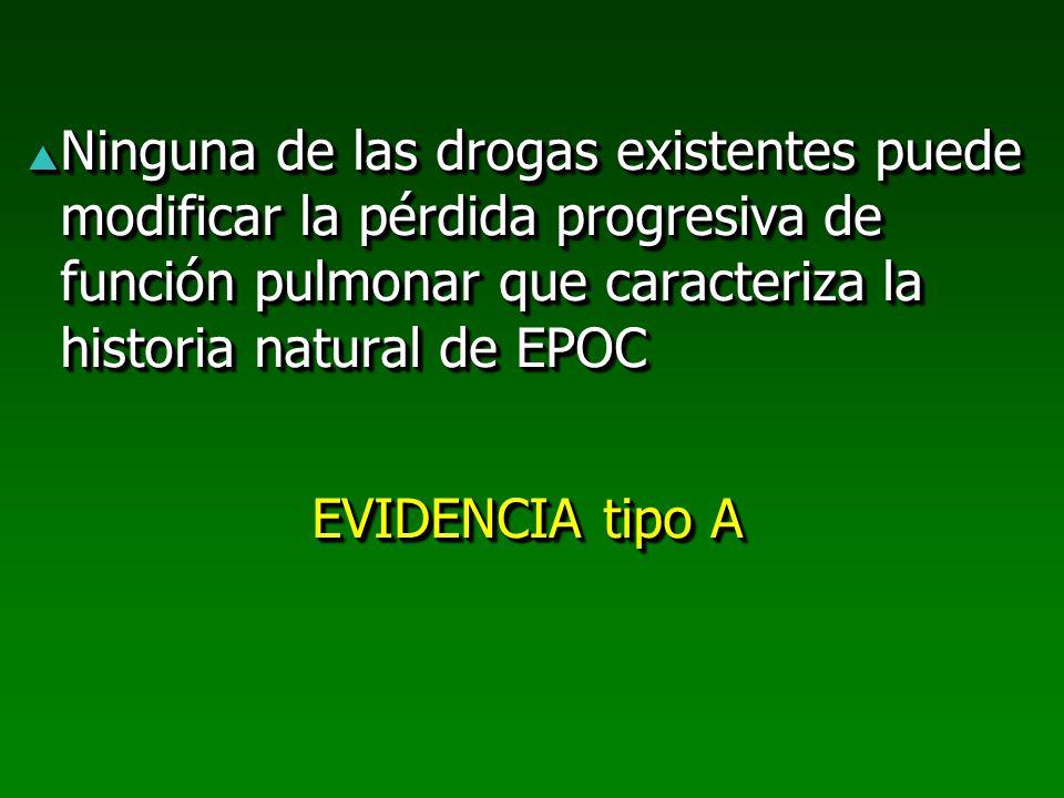 Ninguna de las drogas existentes puede modificar la pérdida progresiva de función pulmonar que caracteriza la historia natural de EPOC