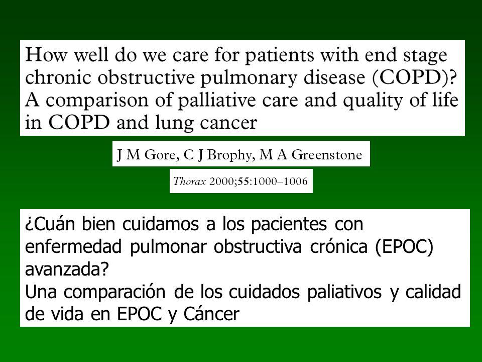 ¿Cuán bien cuidamos a los pacientes con enfermedad pulmonar obstructiva crónica (EPOC) avanzada