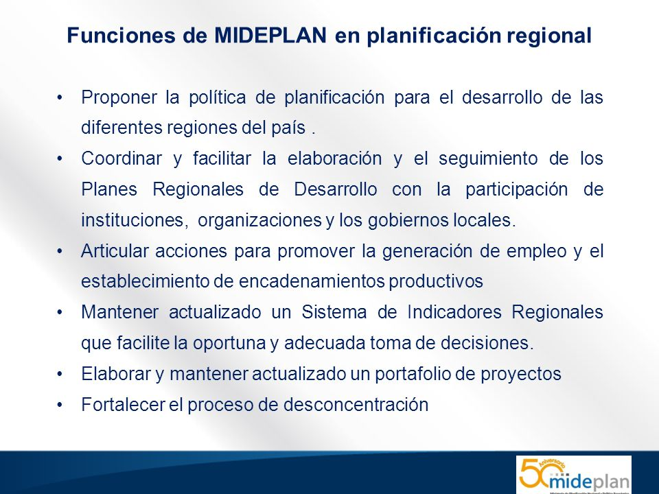 Funciones de MIDEPLAN en planificación regional