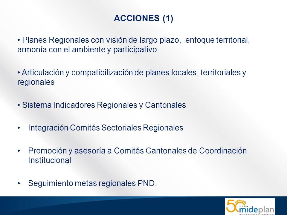 ACCIONES (1) Planes Regionales con visión de largo plazo, enfoque territorial, armonía con el ambiente y participativo.