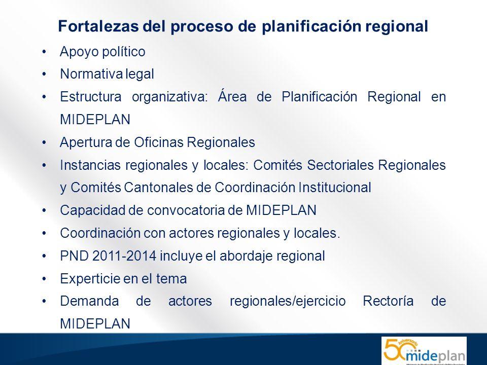 Fortalezas del proceso de planificación regional