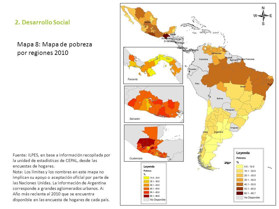 Mapa 8: Mapa de pobreza por regiones 2010