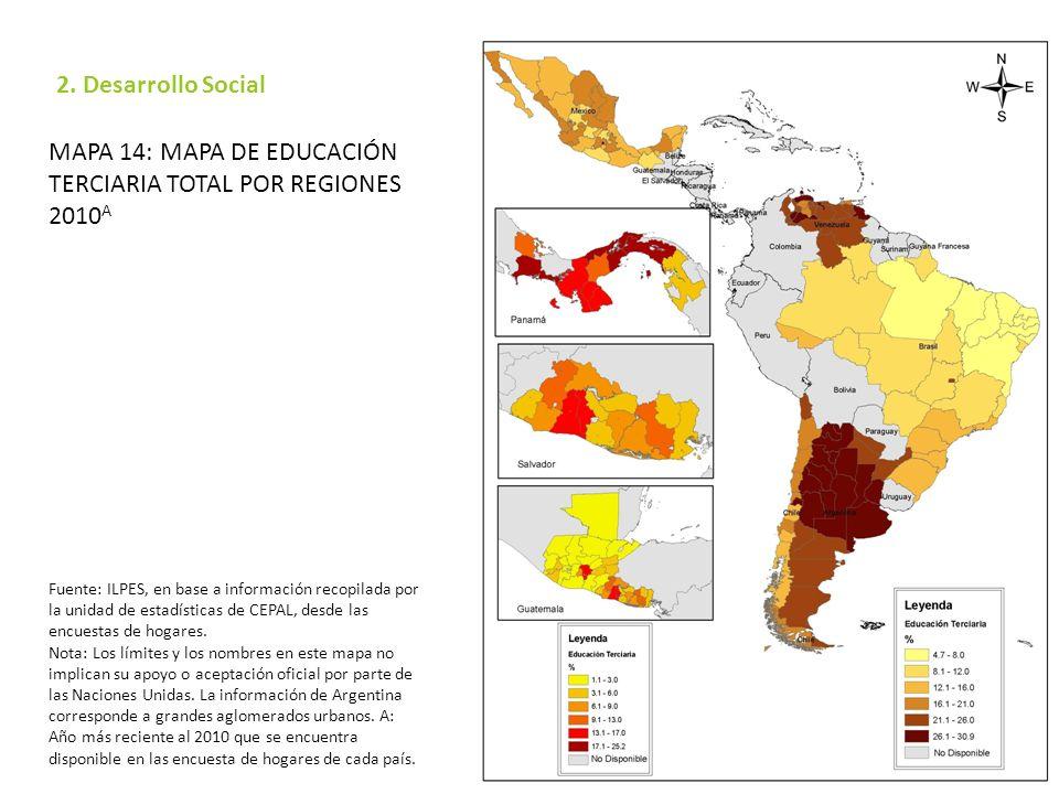 Mapa 14: Mapa de educación terciaria total por regiones 2010A
