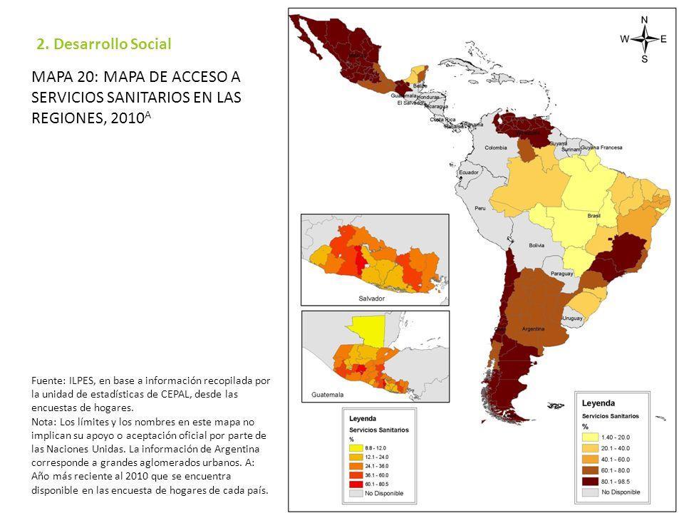 Mapa 20: Mapa de acceso a servicios sanitarios en las regiones, 2010A
