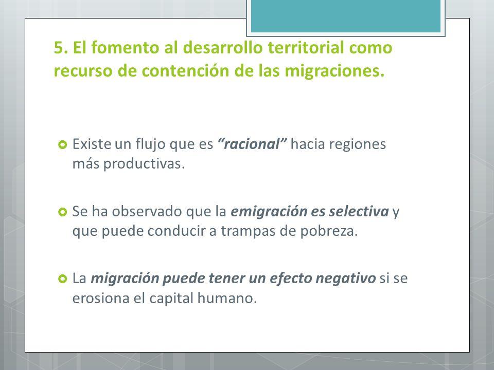 5. El fomento al desarrollo territorial como recurso de contención de las migraciones.