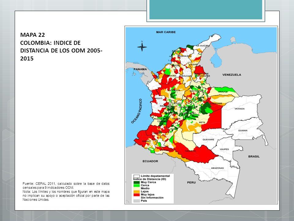 MAPA 22 COLOMBIA: INDICE DE DISTANCIA DE LOS ODM 2005-2015