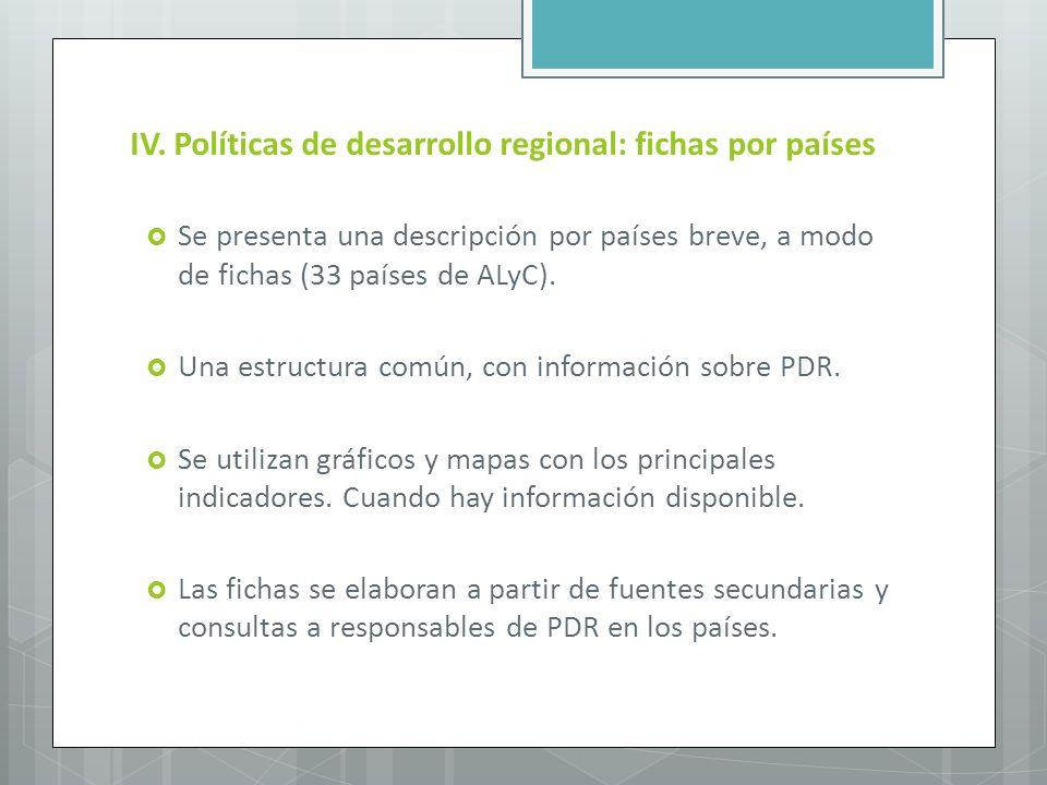 IV. Políticas de desarrollo regional: fichas por países