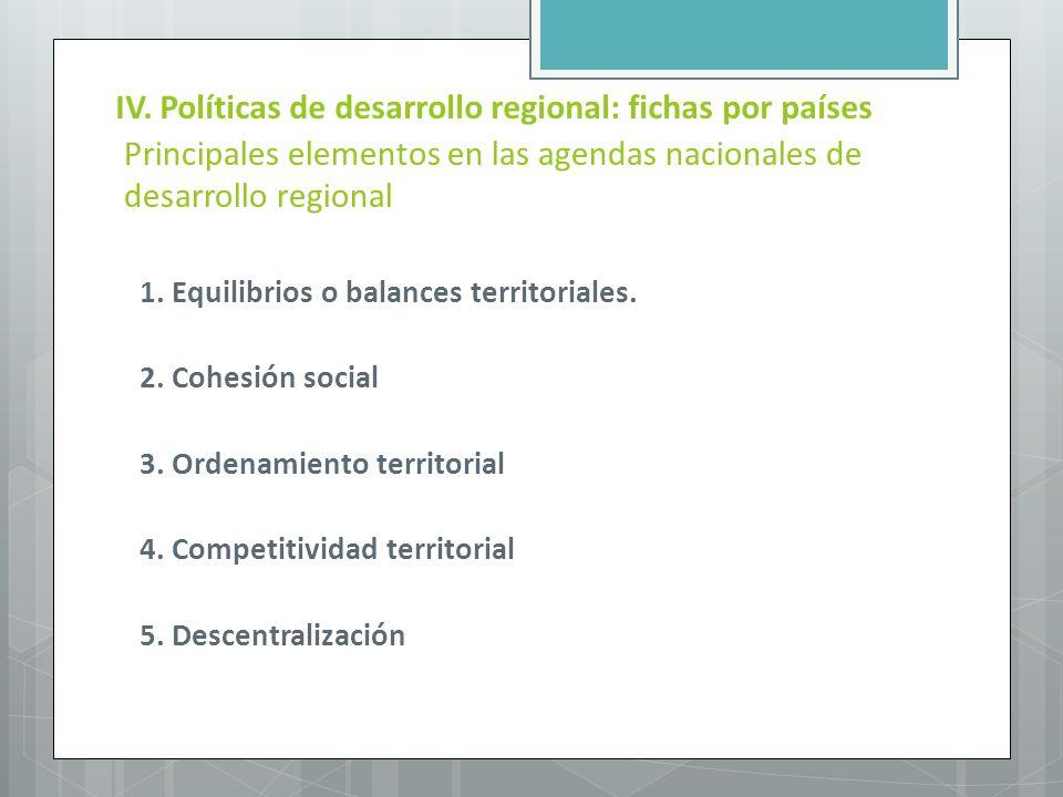 Principales elementos en las agendas nacionales de desarrollo regional