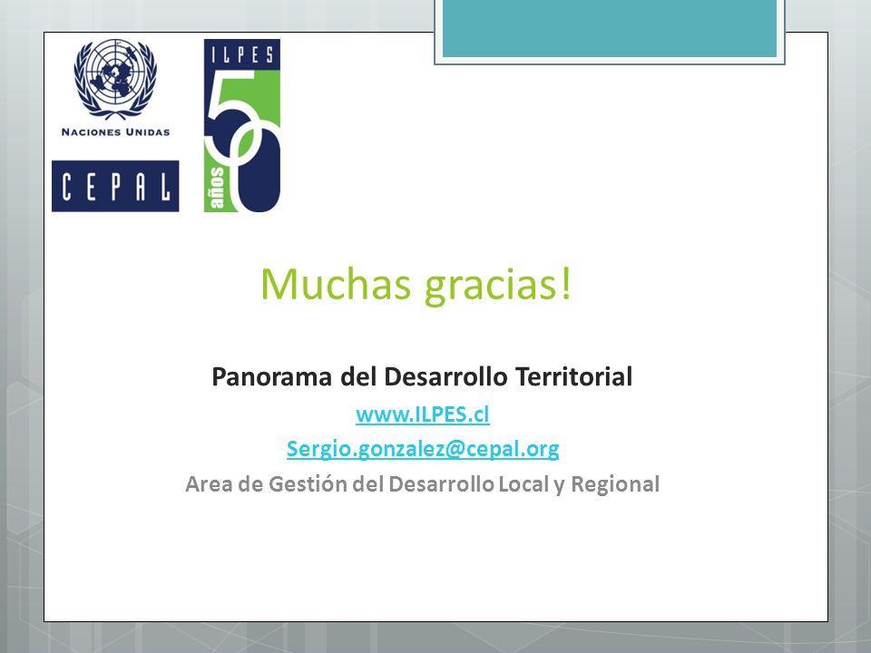 Muchas gracias! Panorama del Desarrollo Territorial www.ILPES.cl