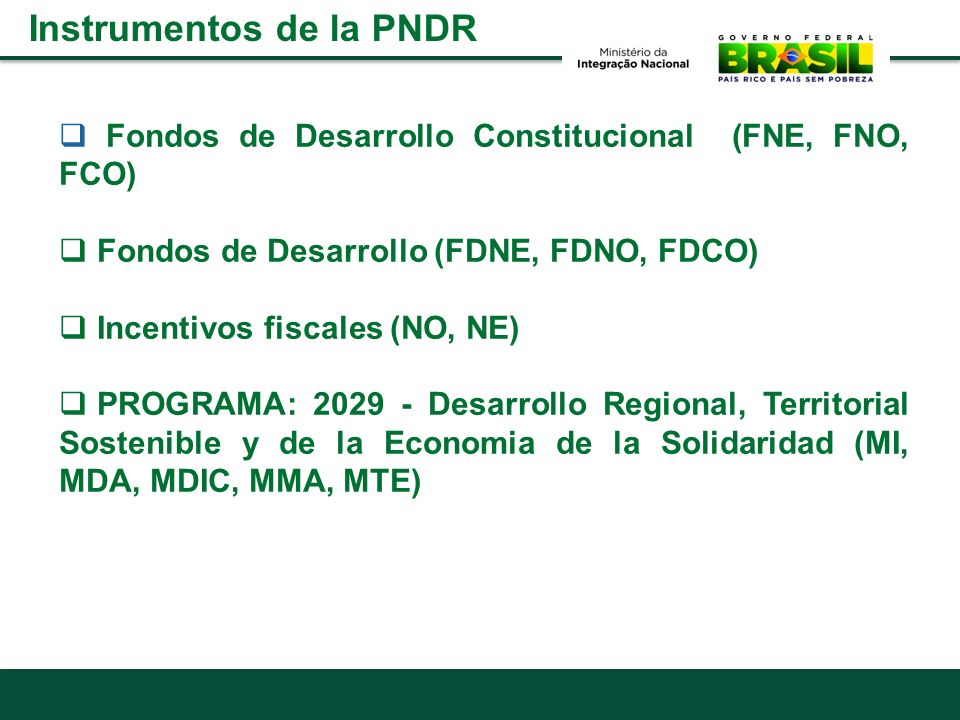 Instrumentos de la PNDR