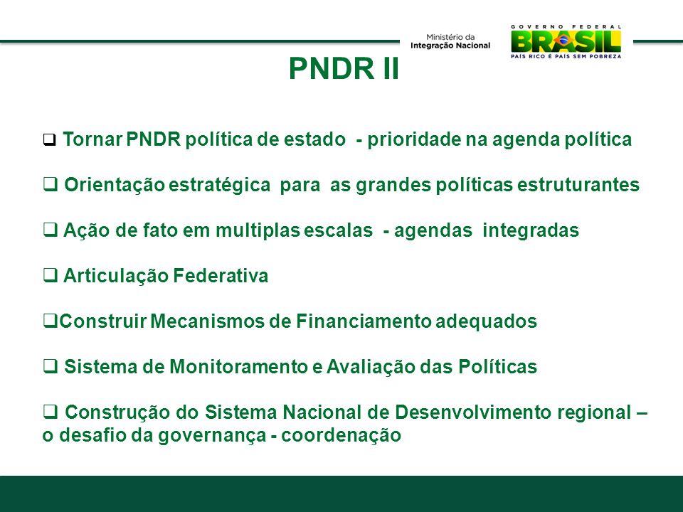 PNDR II Orientação estratégica para as grandes políticas estruturantes