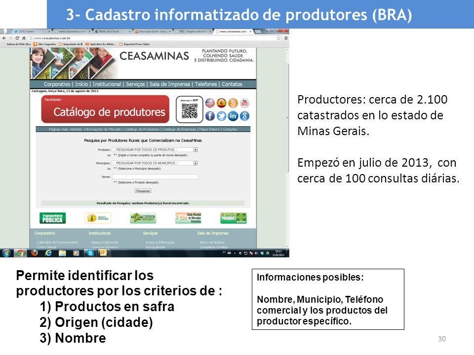 3- Cadastro informatizado de produtores (BRA)