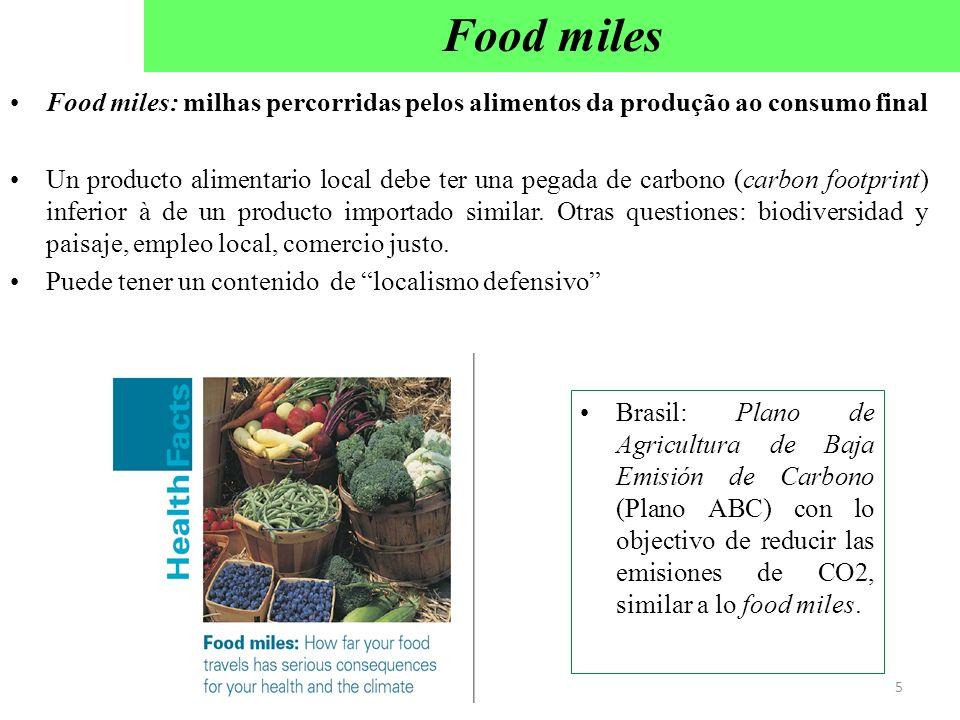 Food miles Food miles: milhas percorridas pelos alimentos da produção ao consumo final.