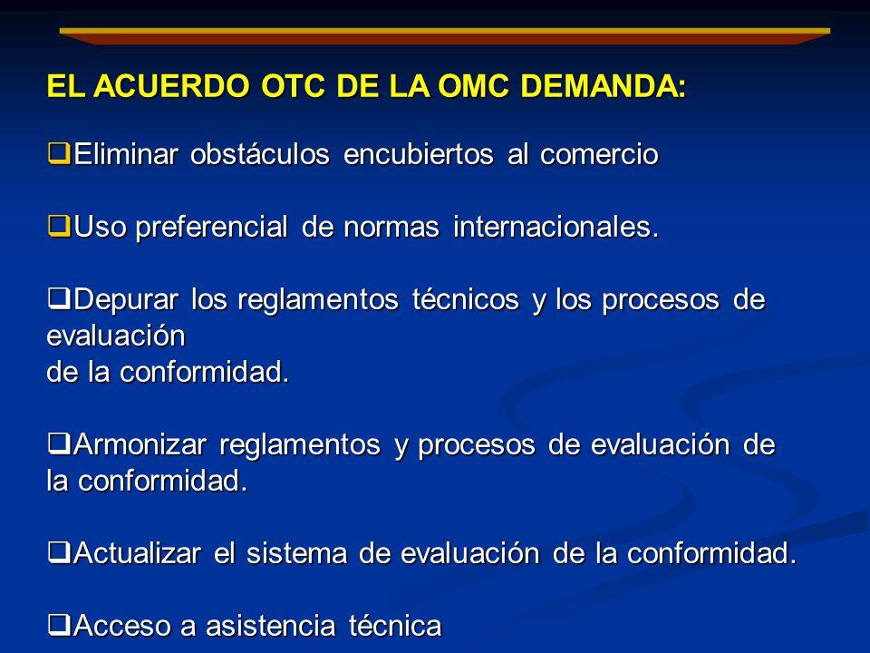 EL ACUERDO OTC DE LA OMC DEMANDA: