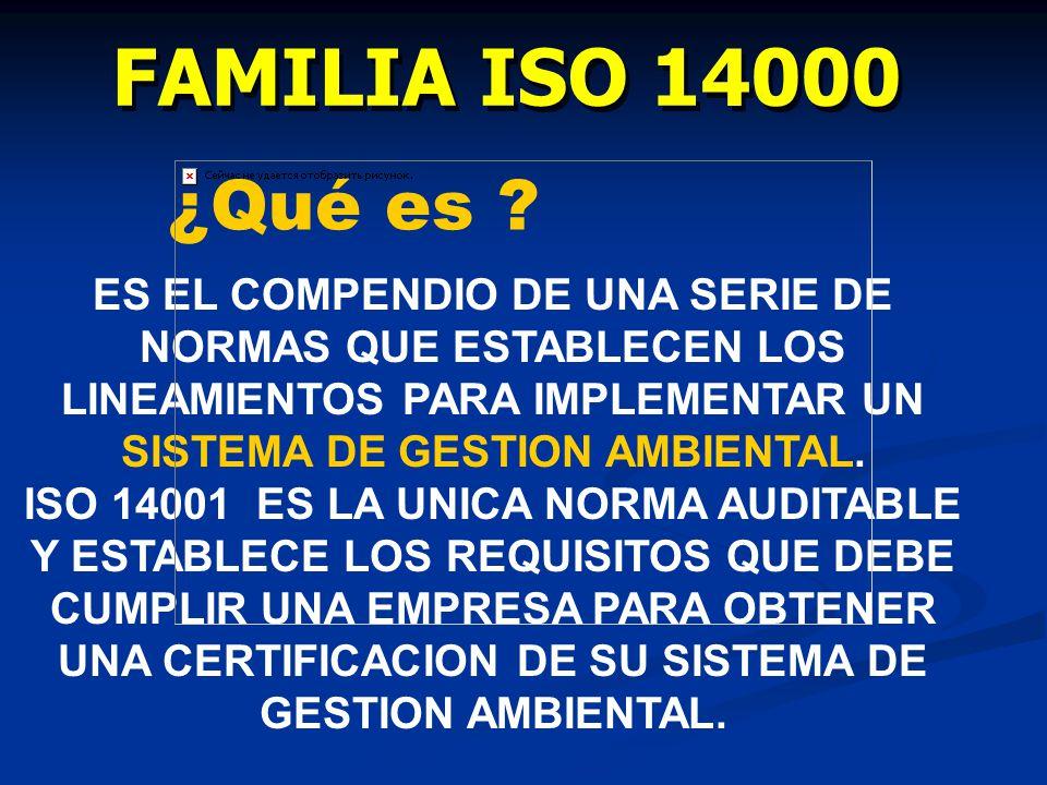 FAMILIA ISO 14000 ¿Qué es ES EL COMPENDIO DE UNA SERIE DE NORMAS QUE ESTABLECEN LOS LINEAMIENTOS PARA IMPLEMENTAR UN SISTEMA DE GESTION AMBIENTAL.