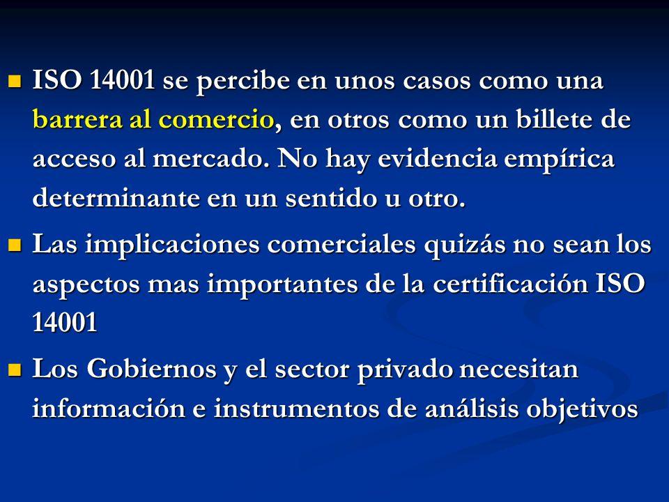 ISO 14001 se percibe en unos casos como una barrera al comercio, en otros como un billete de acceso al mercado. No hay evidencia empírica determinante en un sentido u otro.