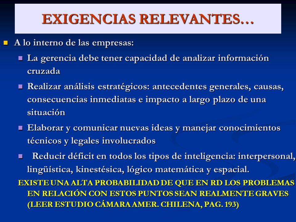 EXIGENCIAS RELEVANTES…