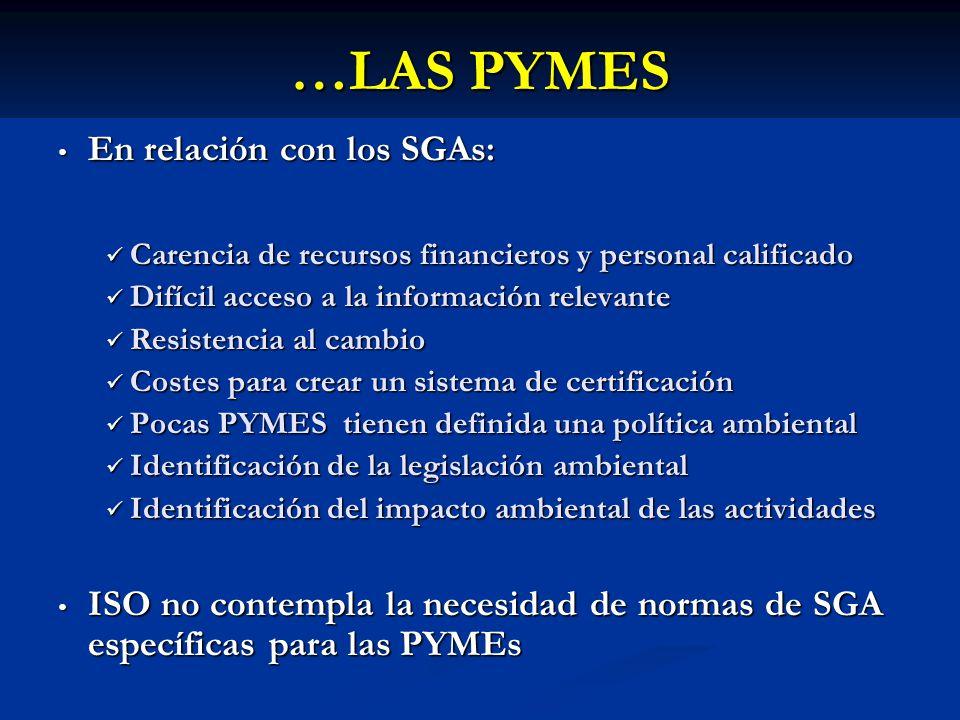 …LAS PYMES En relación con los SGAs: