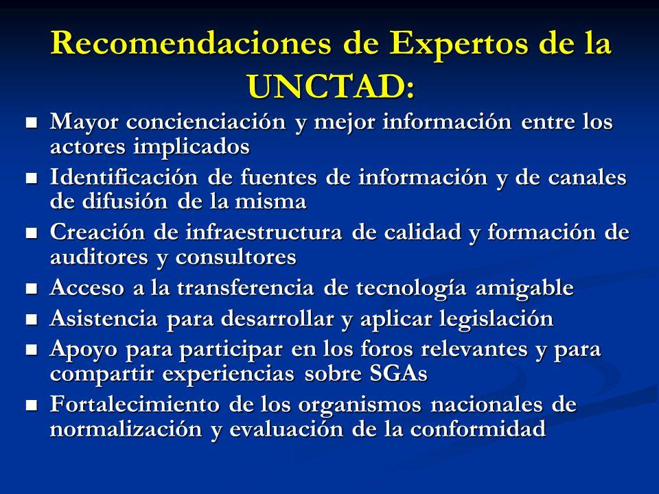 Recomendaciones de Expertos de la UNCTAD: