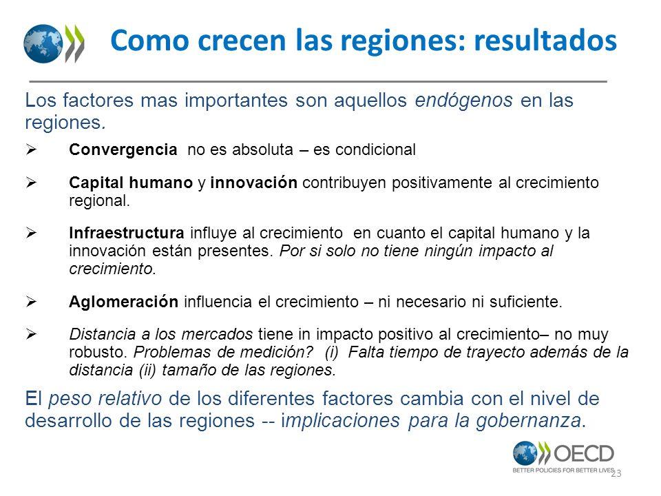 Como crecen las regiones: resultados