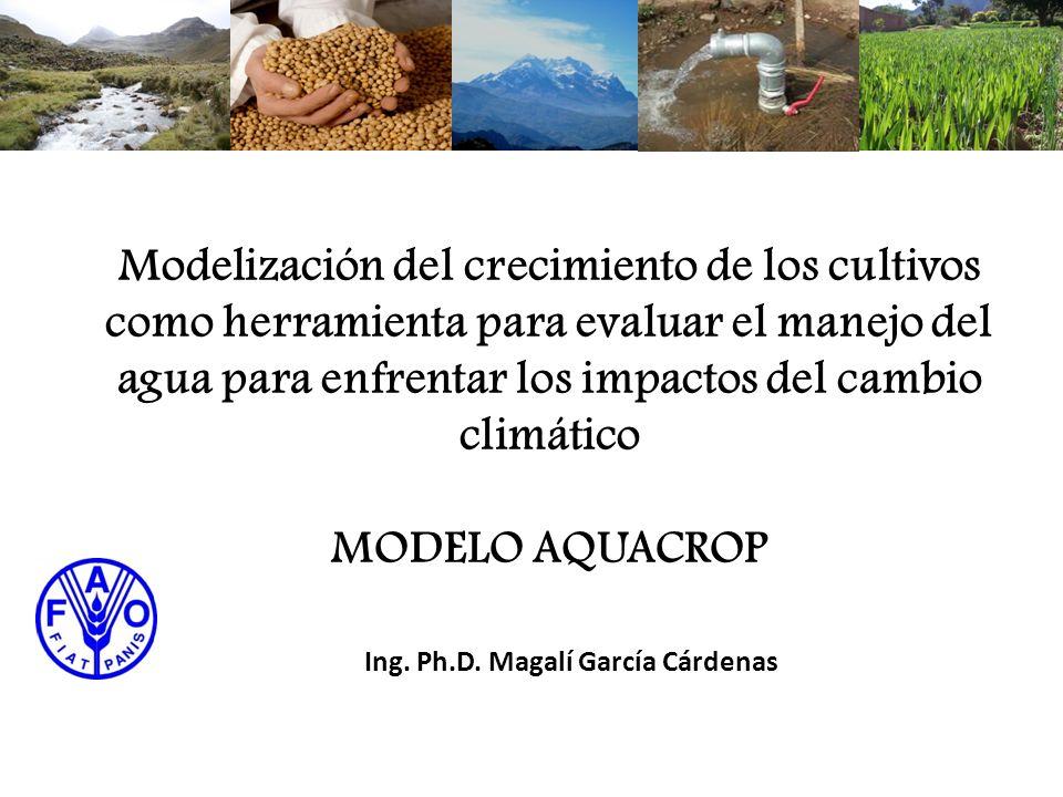 Modelización del crecimiento de los cultivos como herramienta para evaluar el manejo del agua para enfrentar los impactos del cambio climático MODELO AQUACROP