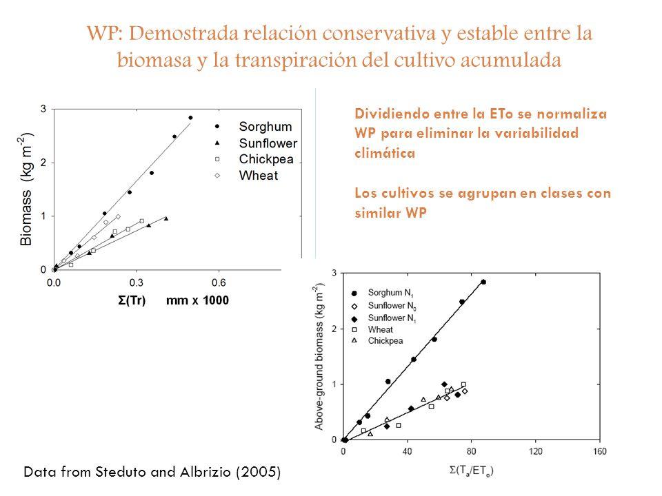 WP: Demostrada relación conservativa y estable entre la biomasa y la transpiración del cultivo acumulada