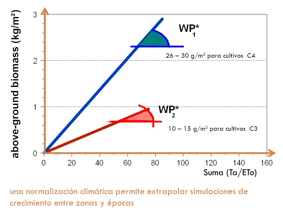 26 – 30 g/m2 para cultivos C410 – 15 g/m2 para cultivos C3. Suma (Ta/ETo)