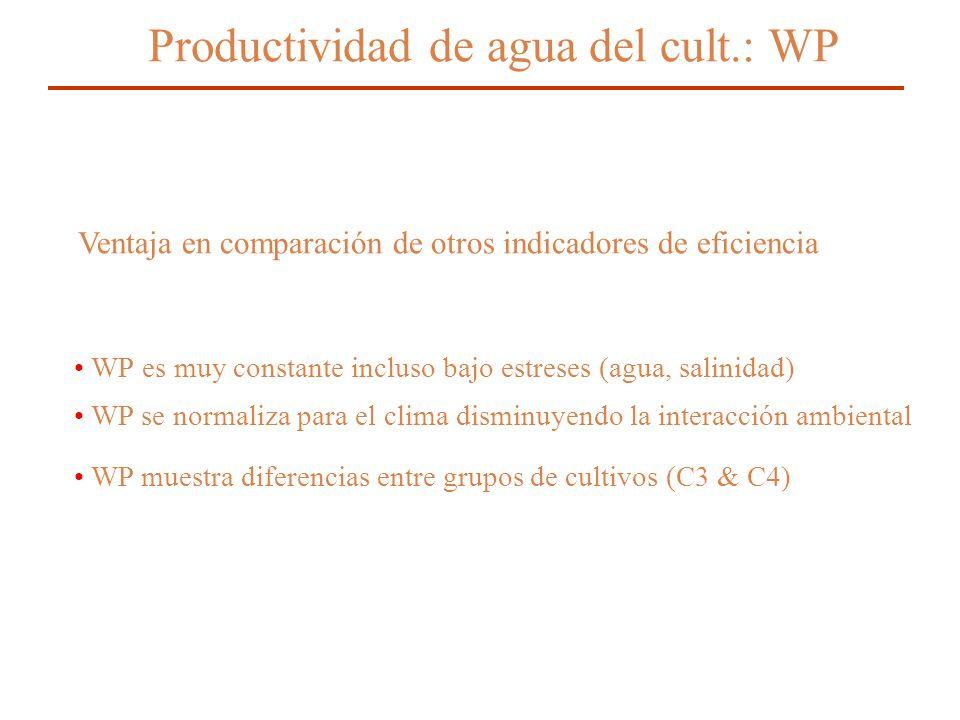 Productividad de agua del cult.: WP