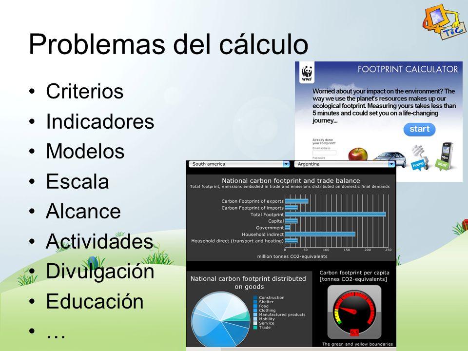 Problemas del cálculo Criterios Indicadores Modelos Escala Alcance