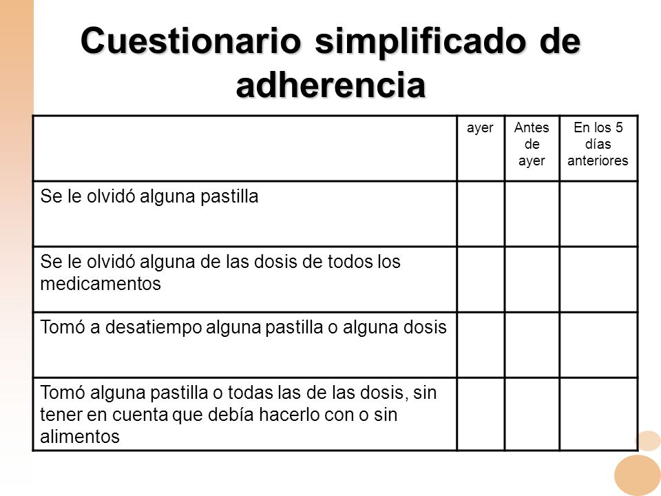 Cuestionario simplificado de adherencia