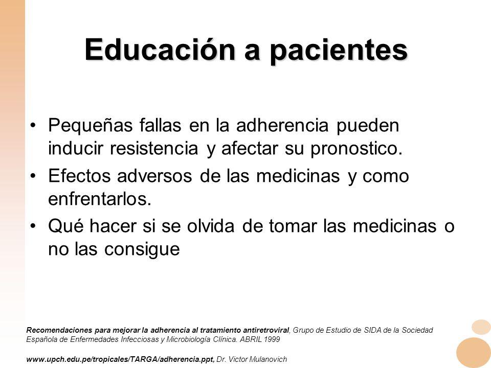 Educación a pacientes Pequeñas fallas en la adherencia pueden inducir resistencia y afectar su pronostico.