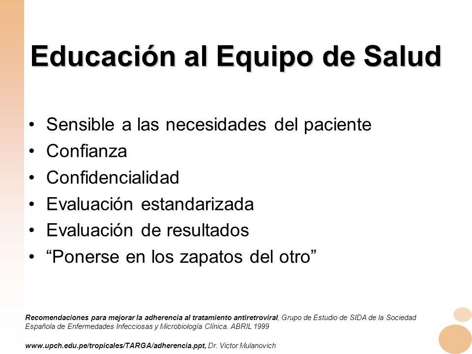 Educación al Equipo de Salud
