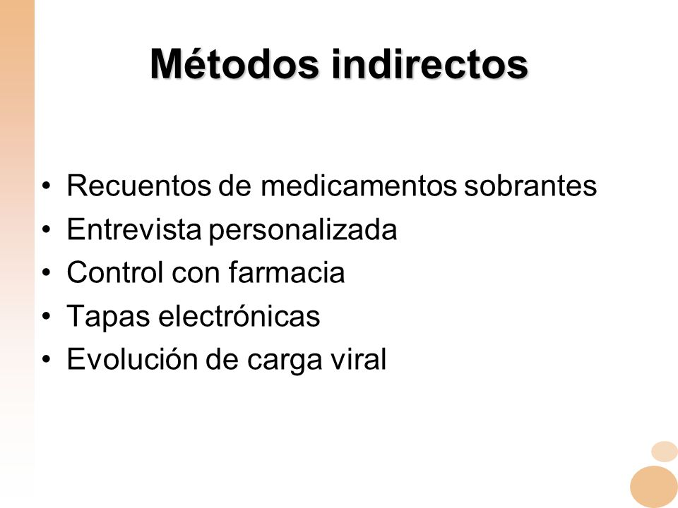 Métodos indirectos Recuentos de medicamentos sobrantes