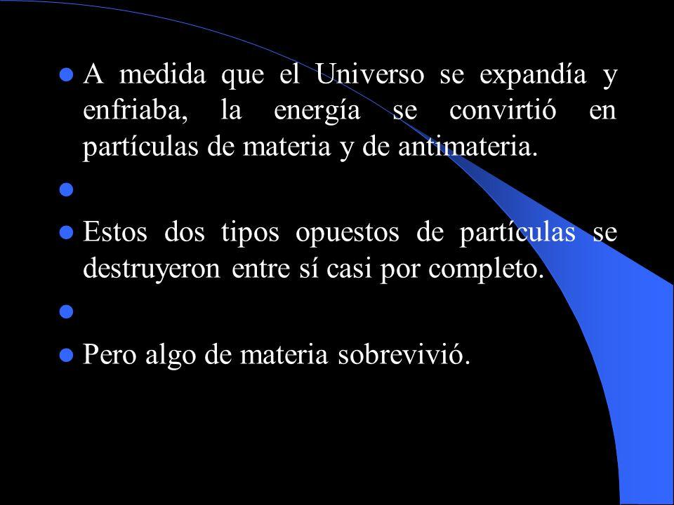A medida que el Universo se expandía y enfriaba, la energía se convirtió en partículas de materia y de antimateria.