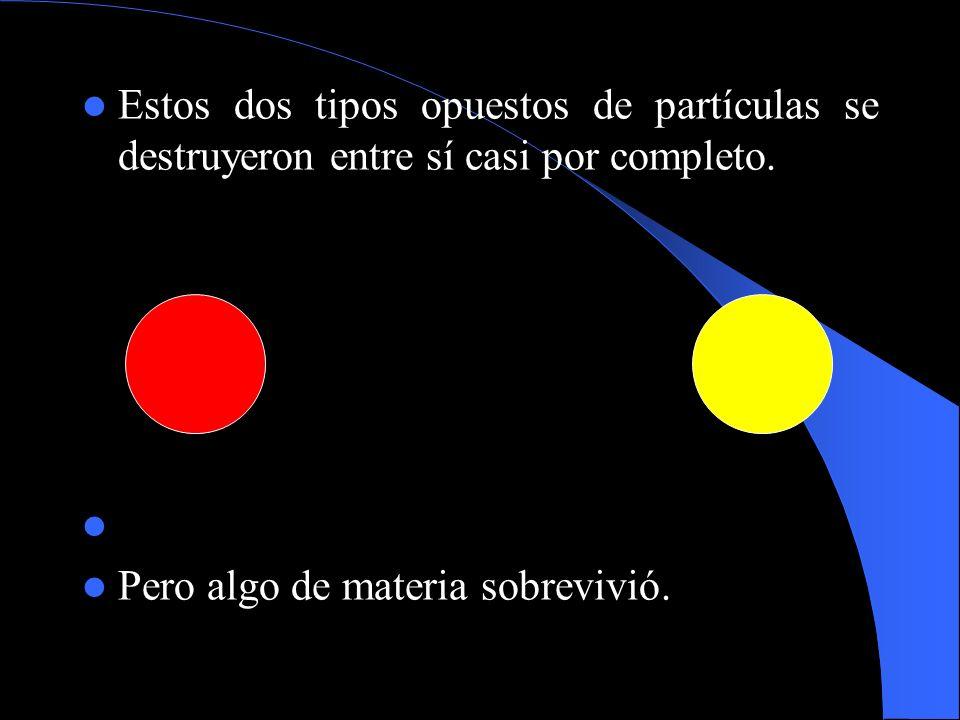 Estos dos tipos opuestos de partículas se destruyeron entre sí casi por completo.
