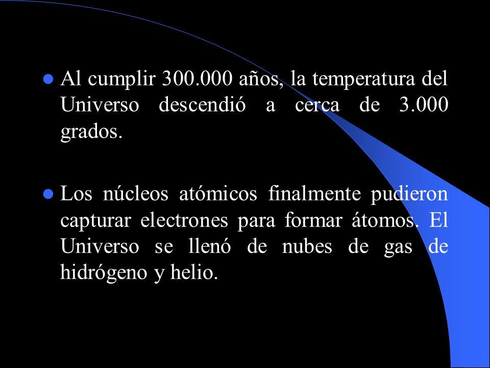 Al cumplir 300.000 años, la temperatura del Universo descendió a cerca de 3.000 grados.
