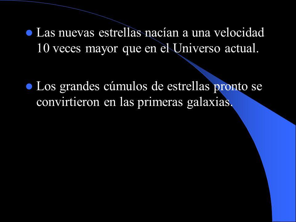 Las nuevas estrellas nacían a una velocidad 10 veces mayor que en el Universo actual.
