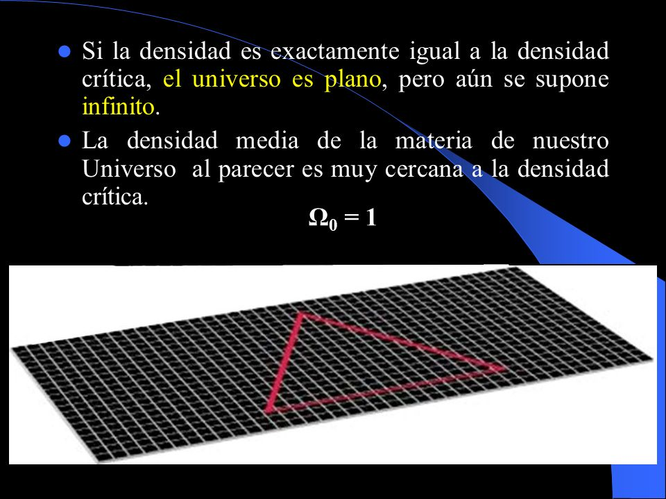 Si la densidad es exactamente igual a la densidad crítica, el universo es plano, pero aún se supone infinito.
