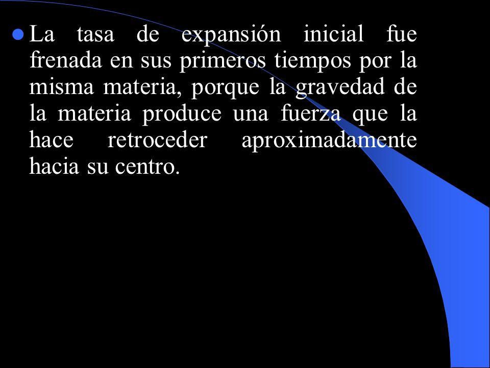 La tasa de expansión inicial fue frenada en sus primeros tiempos por la misma materia, porque la gravedad de la materia produce una fuerza que la hace retroceder aproximadamente hacia su centro.