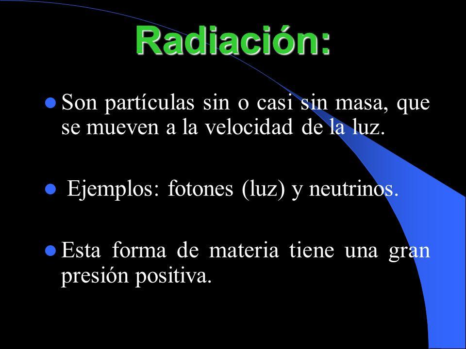 Radiación:Son partículas sin o casi sin masa, que se mueven a la velocidad de la luz. Ejemplos: fotones (luz) y neutrinos.