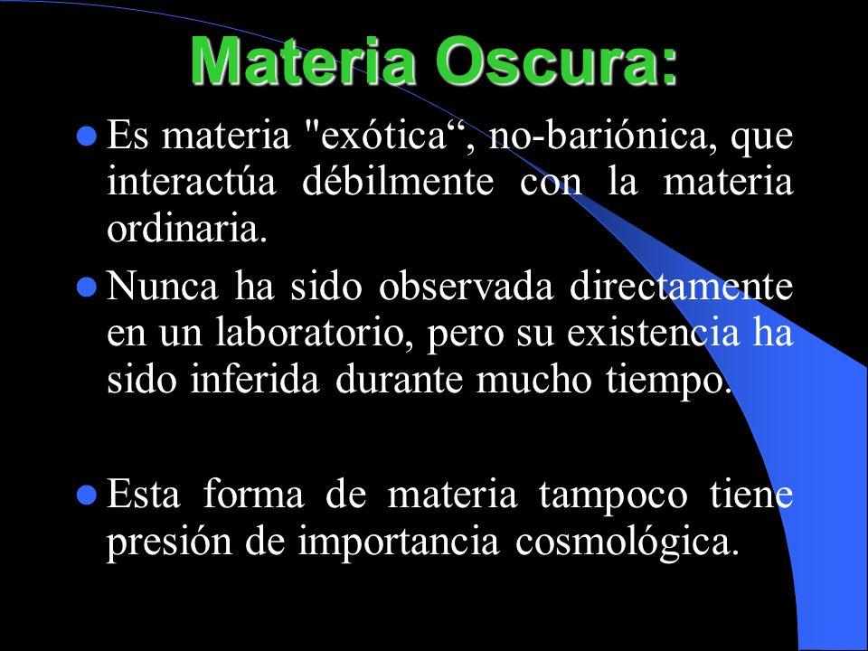 Materia Oscura:Es materia exótica , no-bariónica, que interactúa débilmente con la materia ordinaria.